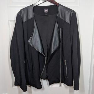 Black Faux Leather Panel Plus Size Jacket 18w